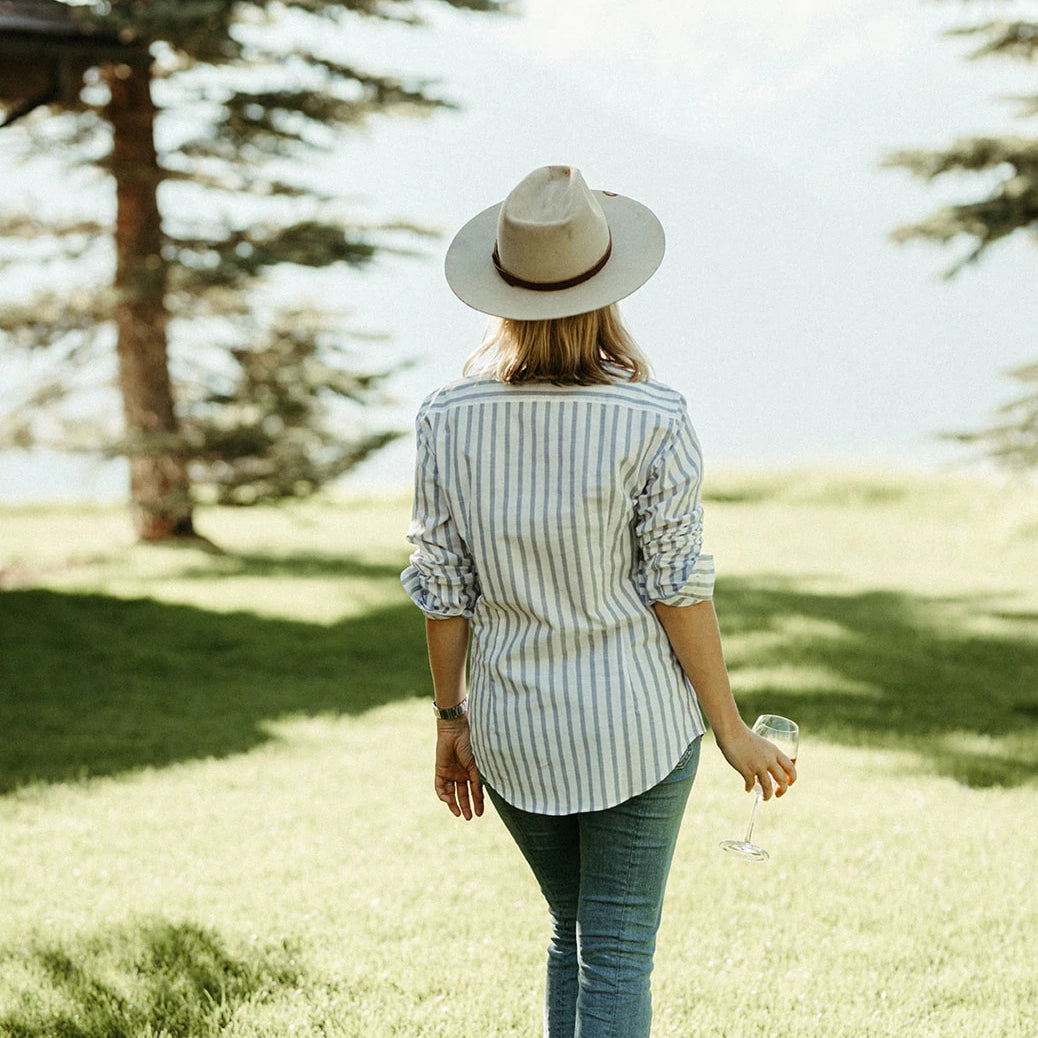 The Jenny Shirt - Rust, Blue & White Stripe