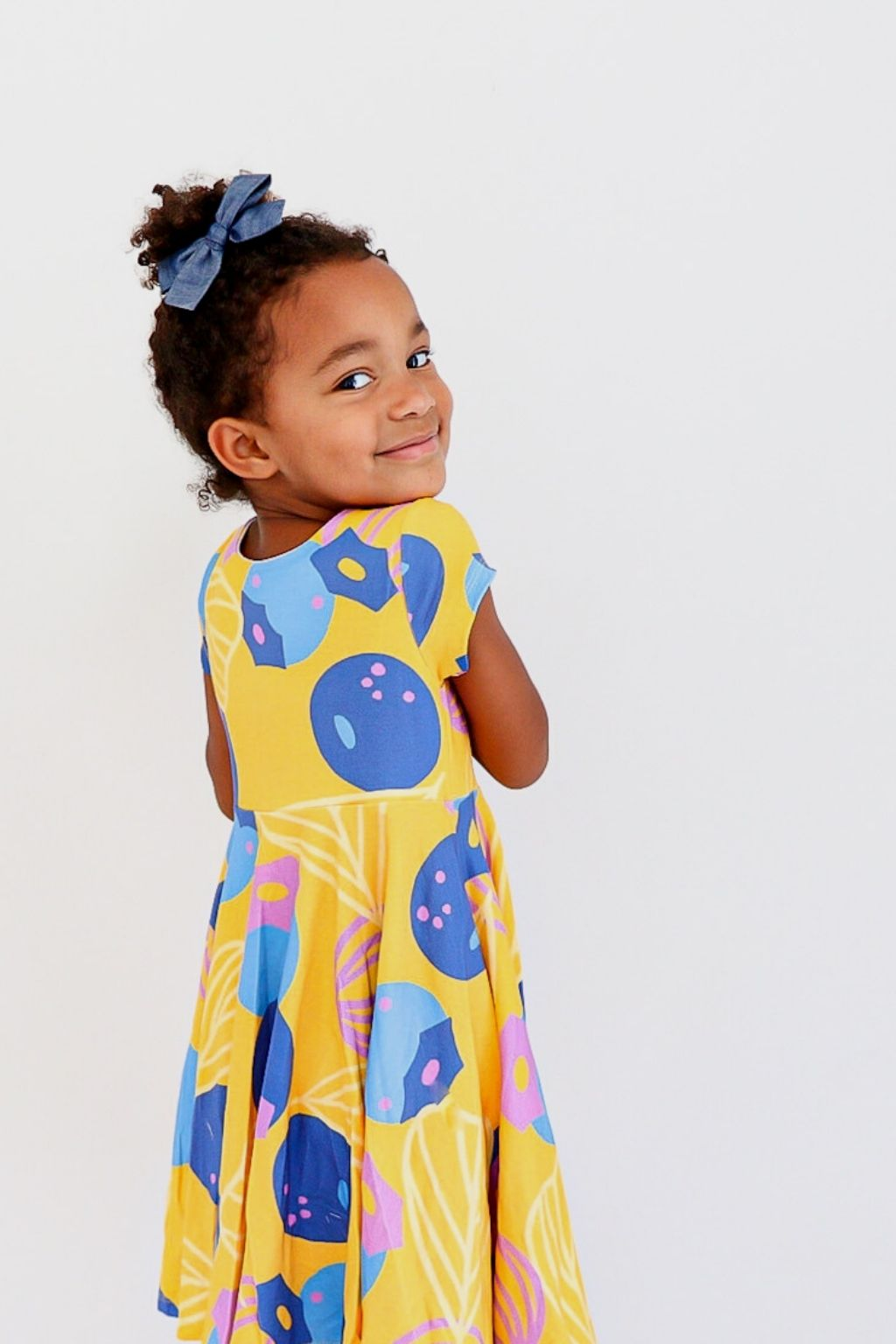 Great Berries Twirl Kids Dress in Marigold