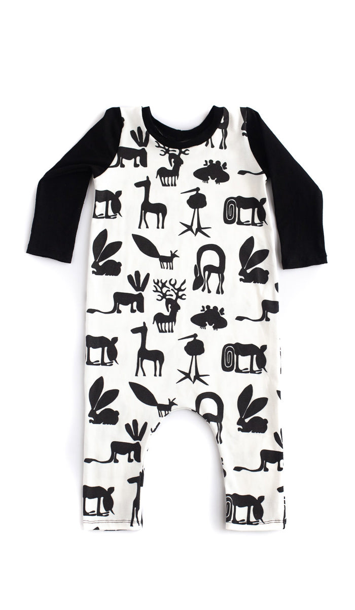 B&W Silly Beasts Romper - Ready to Ship