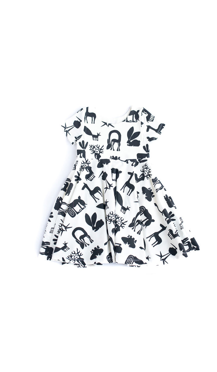 B&W Silly Beasts Twirl Kids Dress - Ready to Ship