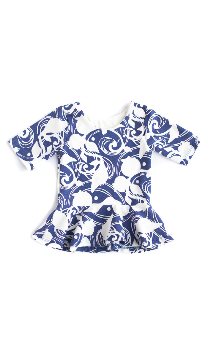 Blue Berries Peplum Top