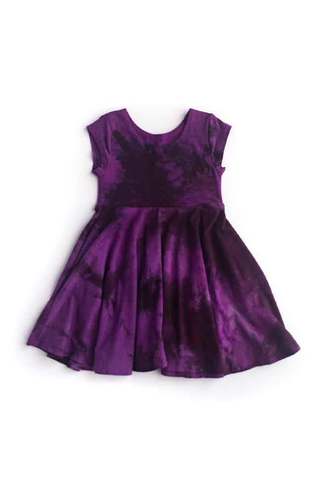 Black Plum Twirl Kids Dress