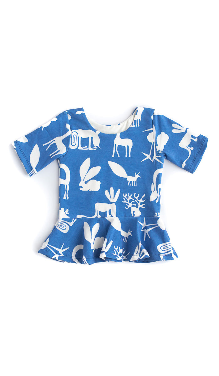 Blue Silly Beast Peplum Top