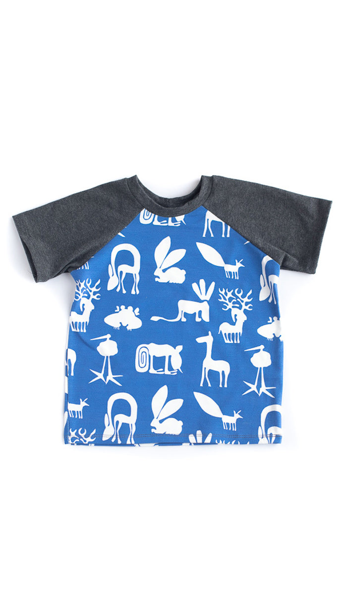 Blue Silly Beast Raglan Tee - Ready to Ship