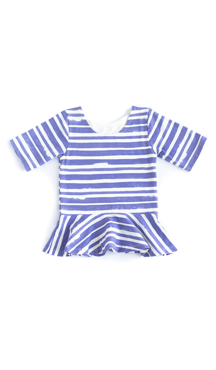 Thick Stripe Peplum Kids Top - Ready to Ship
