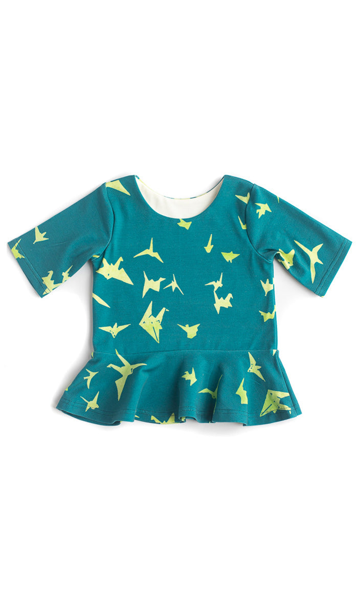 Paper Cranes Peplum Kids Top- Ready to Ship