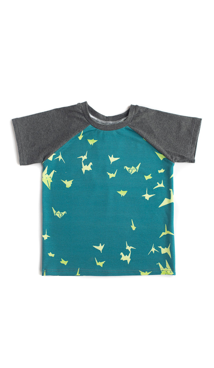 Paper Cranes Raglan Kids Tee- Ready to Ship