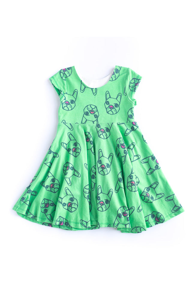 Green Dogs Twirl Kids Dress