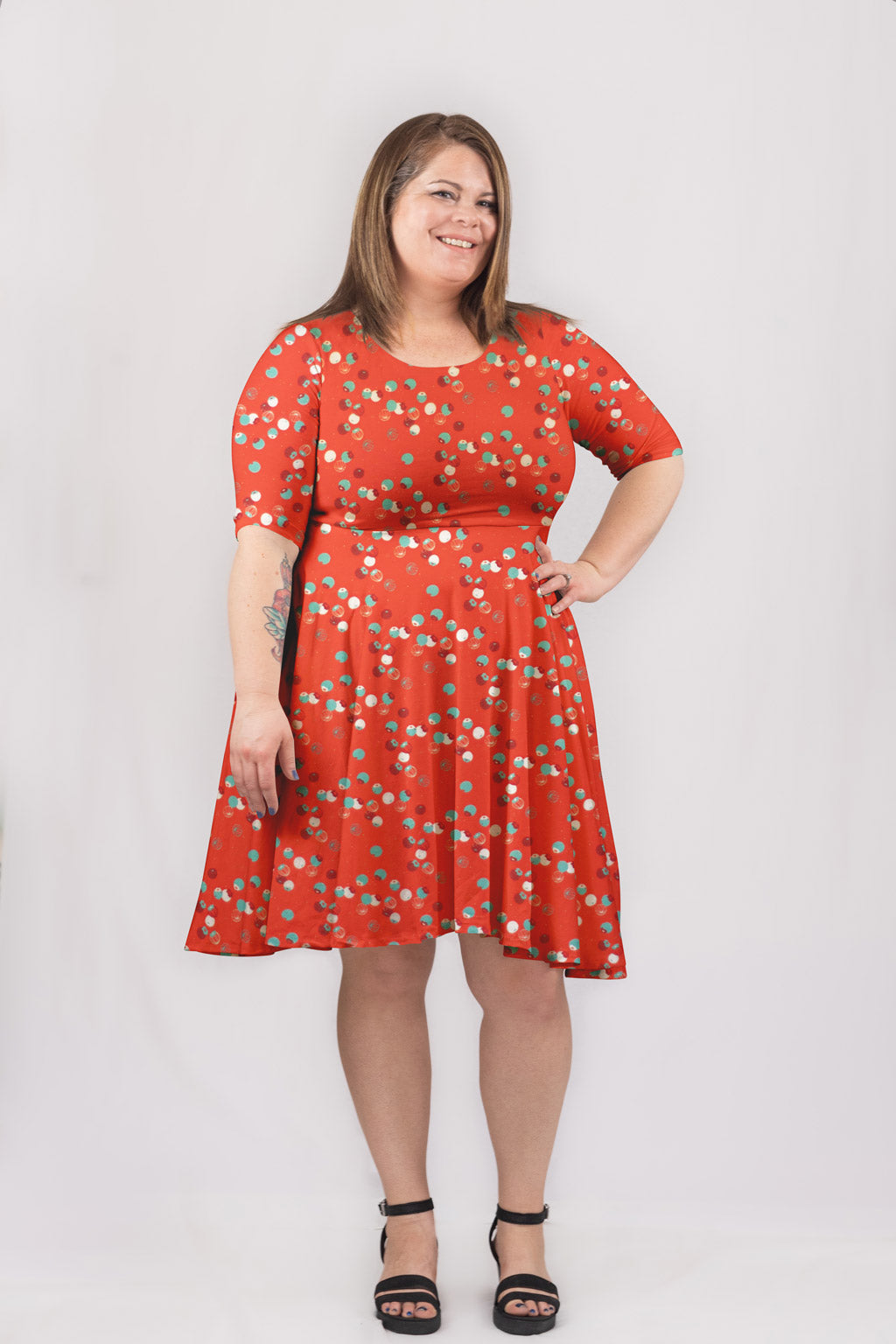 Tiny Berries Dress in Ruby