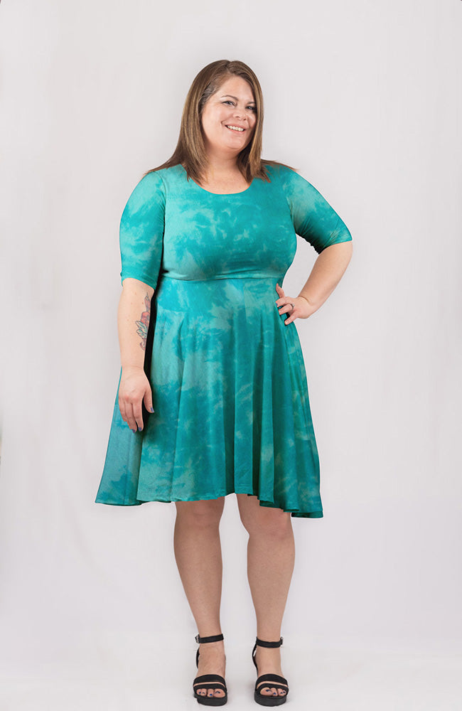 Dyed Dress in Mint Ocean
