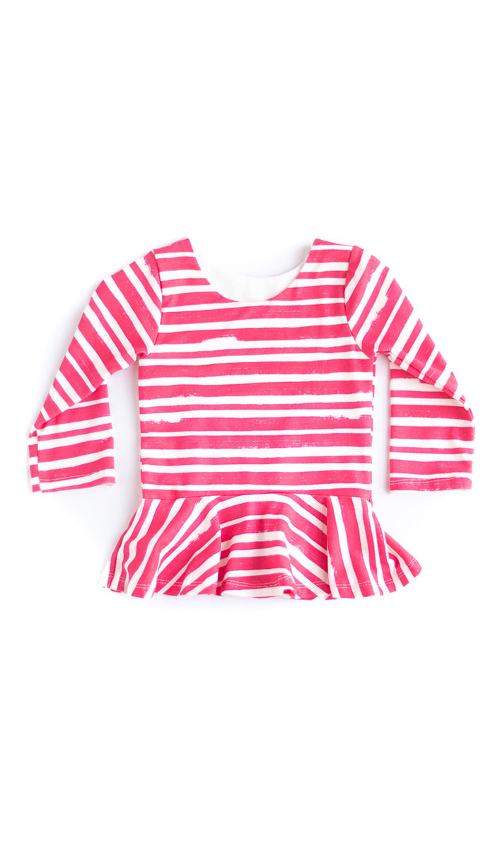 Red Thick Stripe Peplum Top