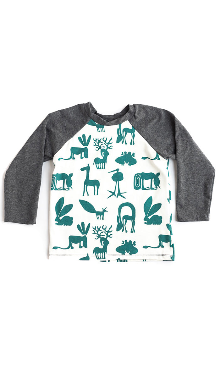 Green Silly Beasts Raglan Tee