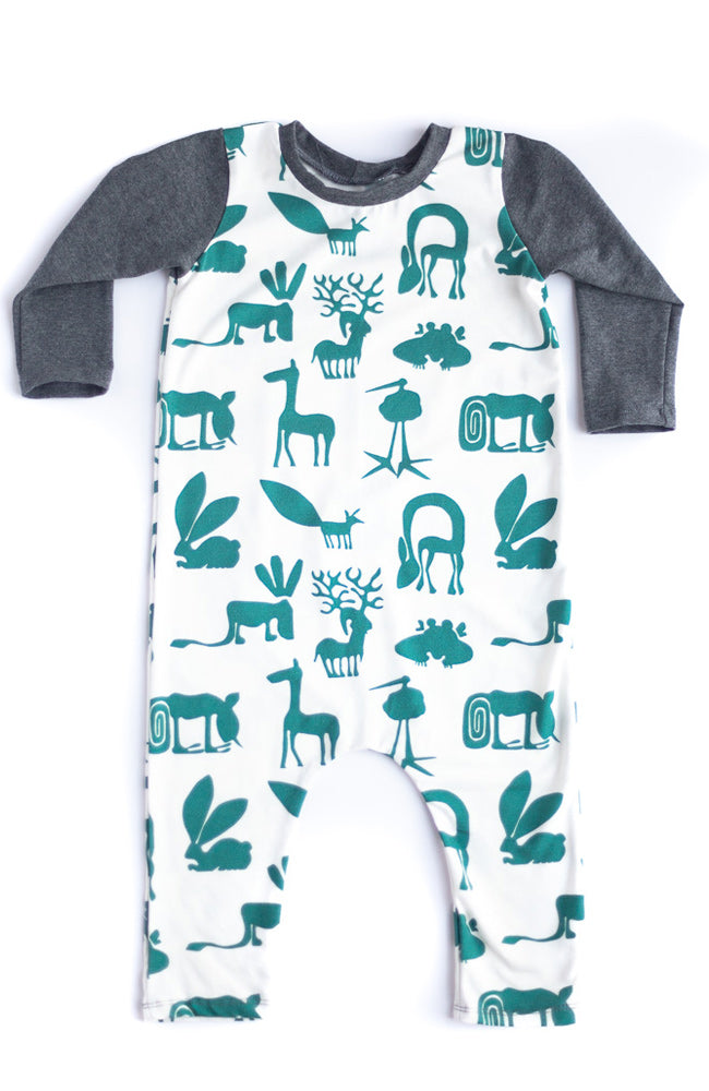 Green Silly Beasts Baby Romper- Ready to Ship