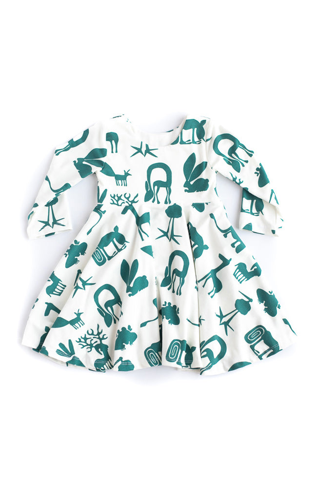 Green Silly Beasts Twirl Kids Dress- Ready to Ship