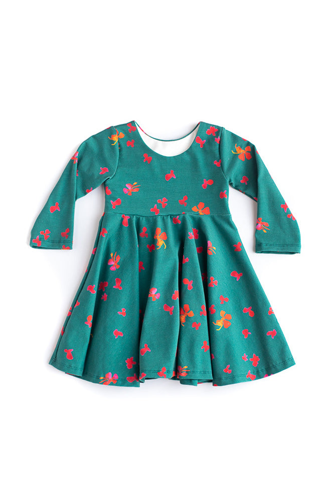 Winter Floral Twirl Kids Dress - Ready to Ship