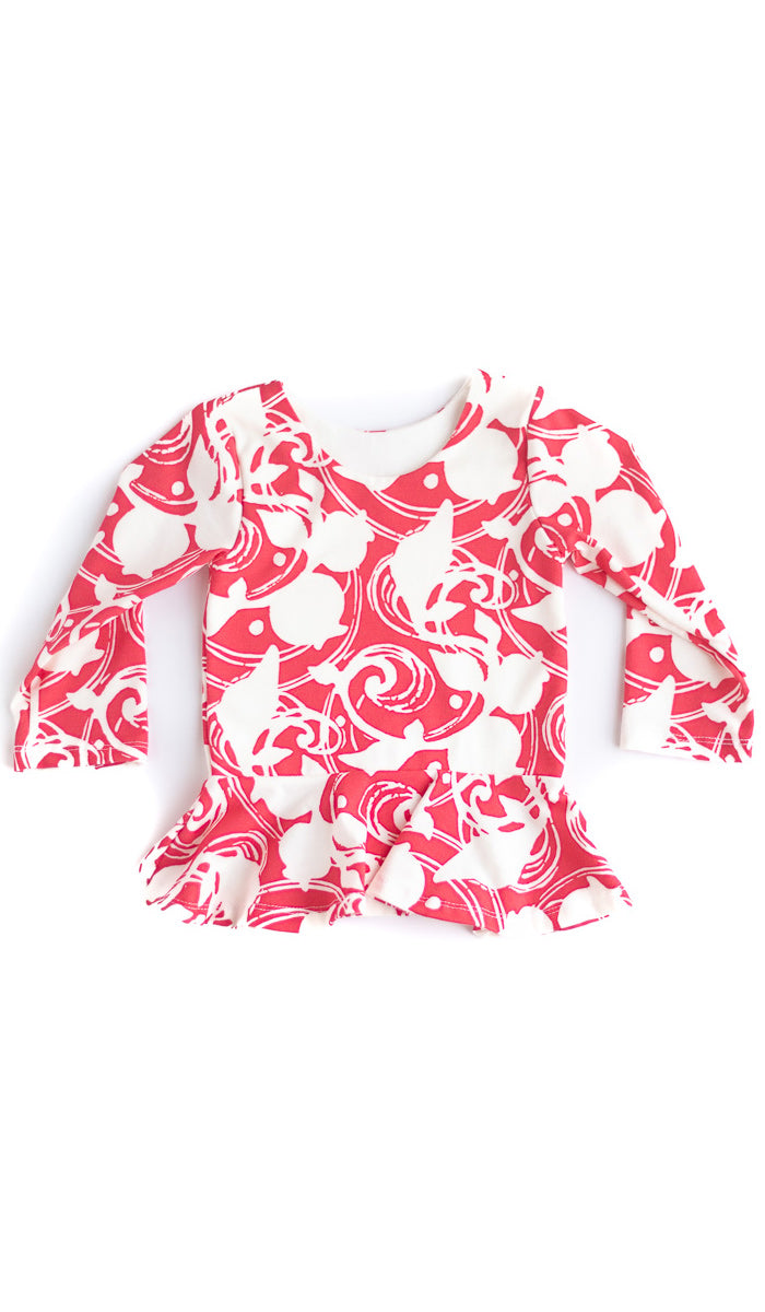 Red Berries Peplum Kids Top- Ready to Ship