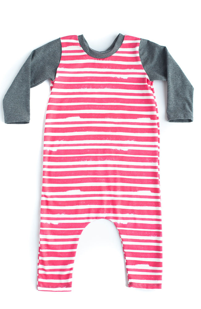 Red Thick Stripe Romper
