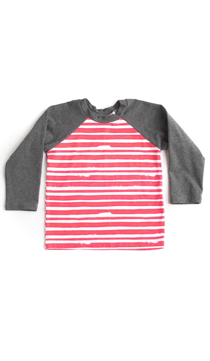 Red Thick Stripe Raglan Kids Tee- Ready to Ship