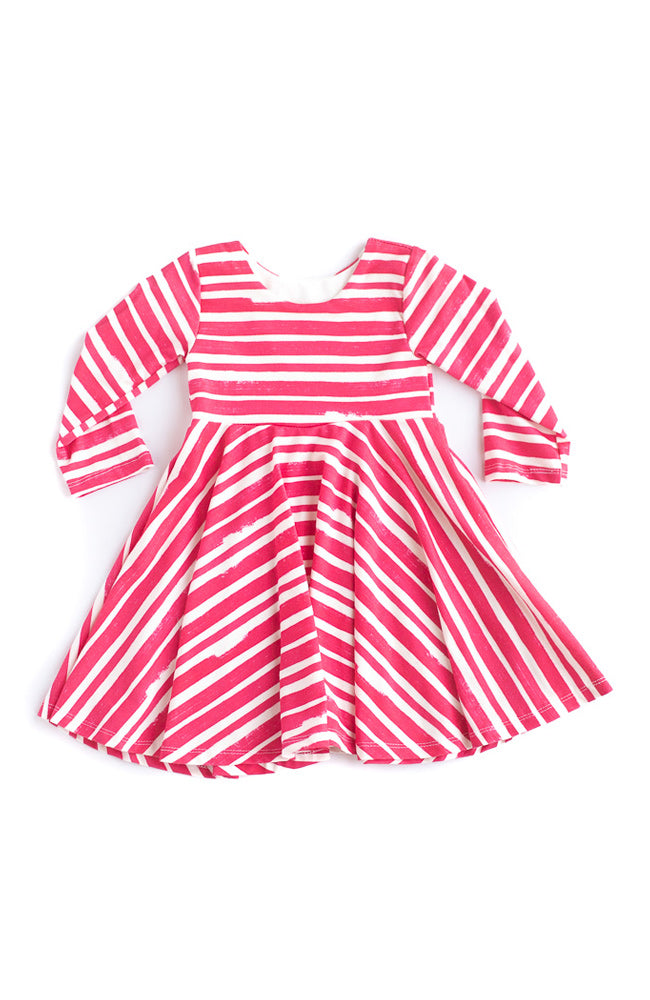 Red Thick Stripe Twirl Kids Dress- Ready to Ship