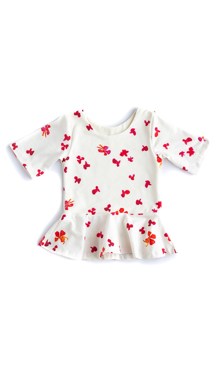 Floral Peplum Kids Top- Ready to Ship