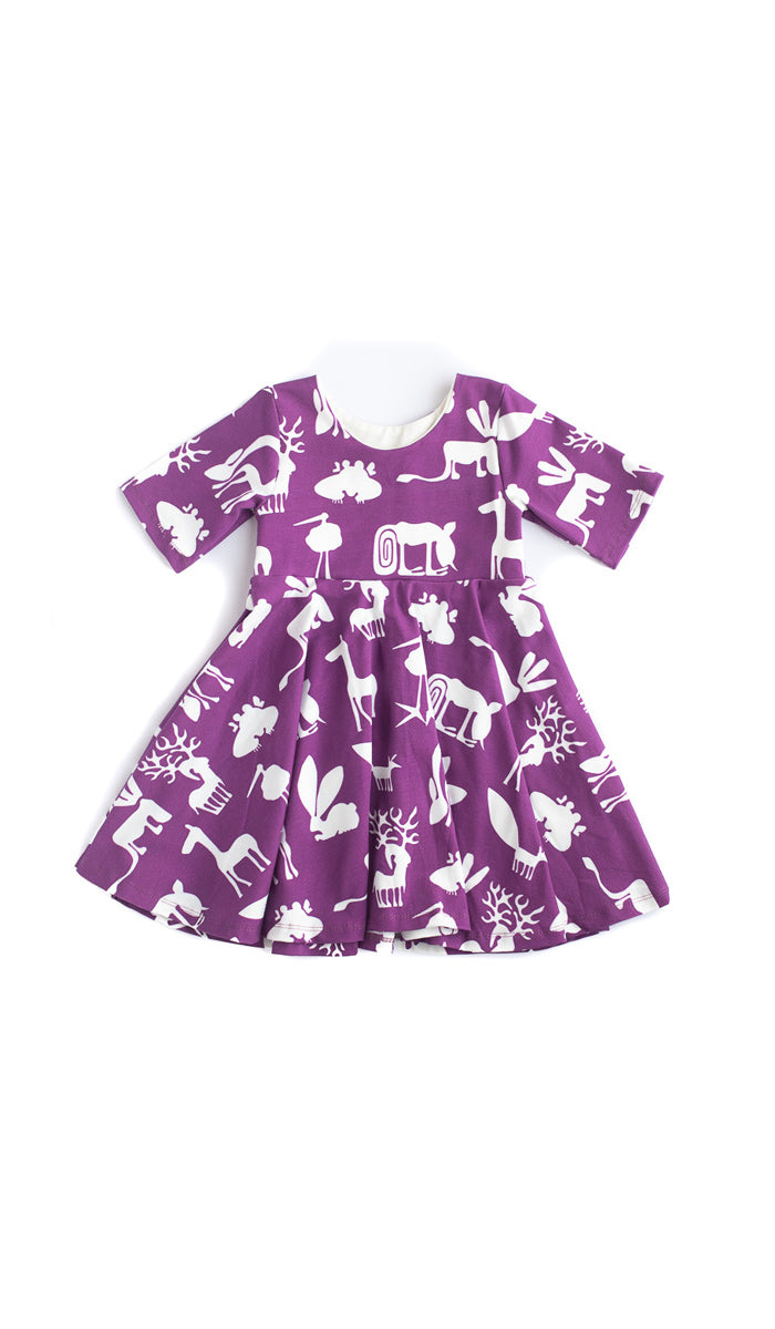 Plum Silly Beasts Twirl Dress