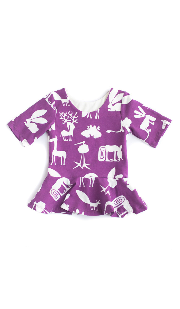 Plum Silly Beasts Peplum Kids Top- Ready to Ship