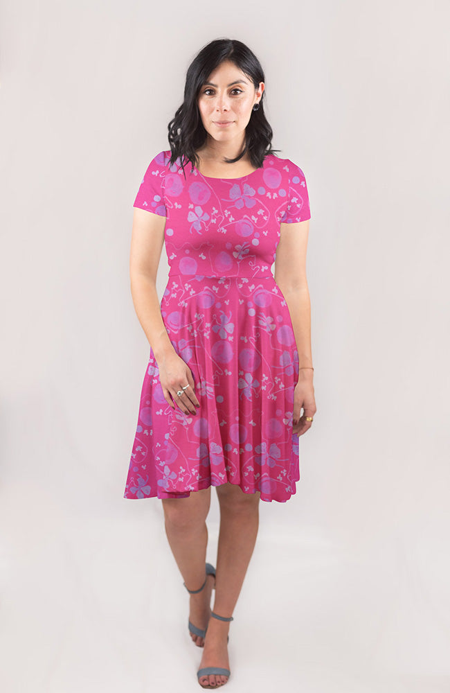 Blooming Vine Dress in Fuchsia