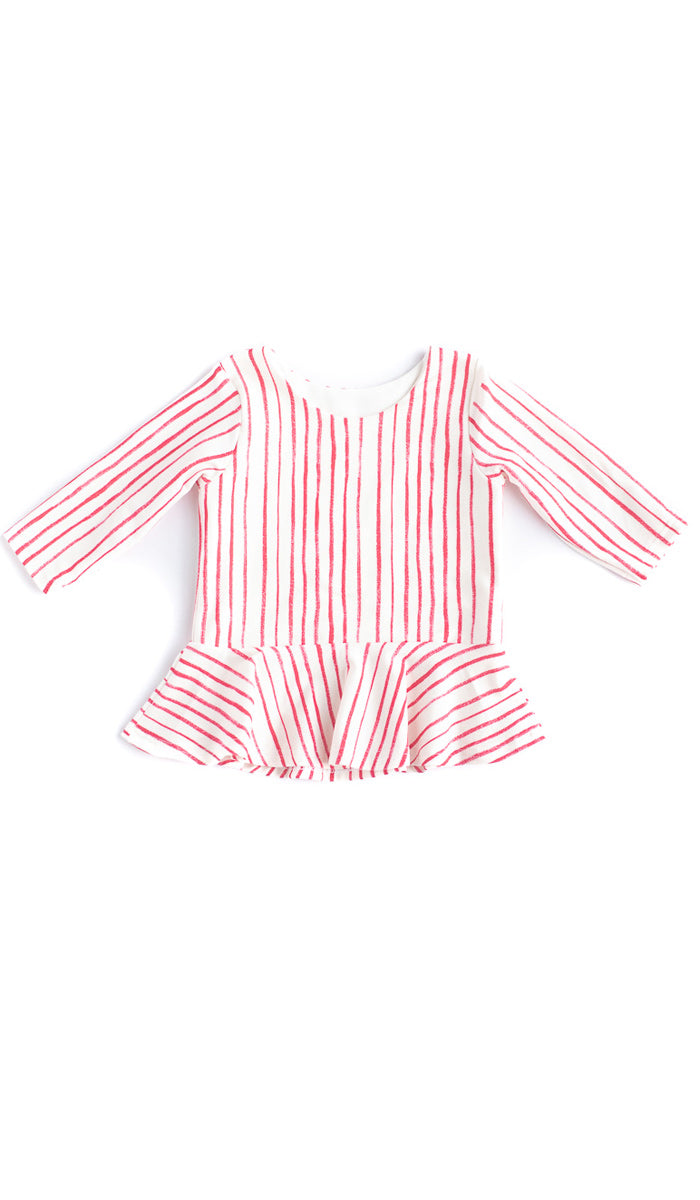 Skinny Stripe Peplum Top