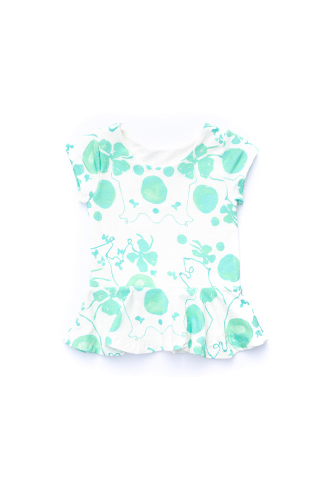 Green Floral Peplum Top