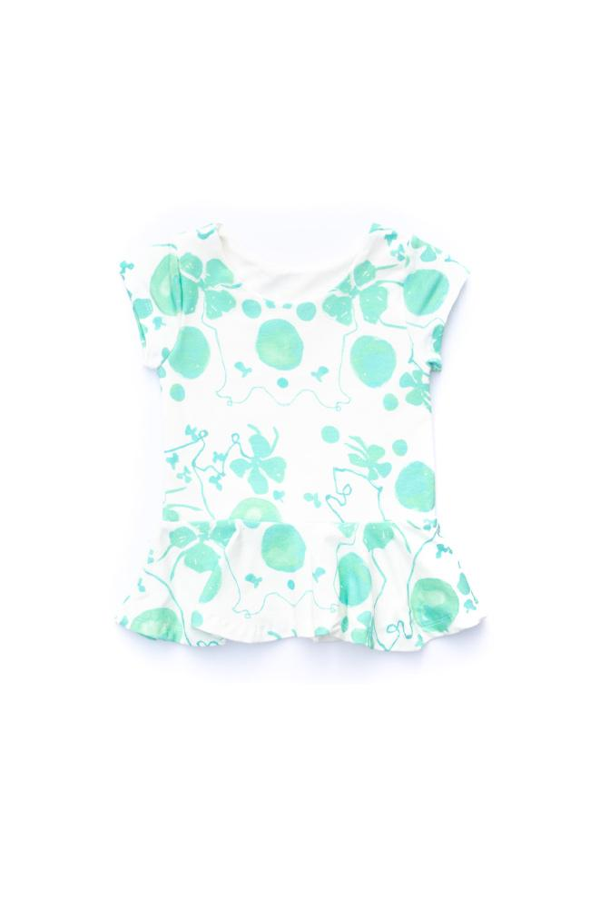 Green Floral Peplum Top - Ready to Ship