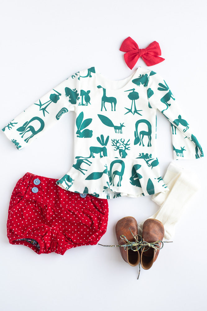 Green Silly Beasts Peplum Top