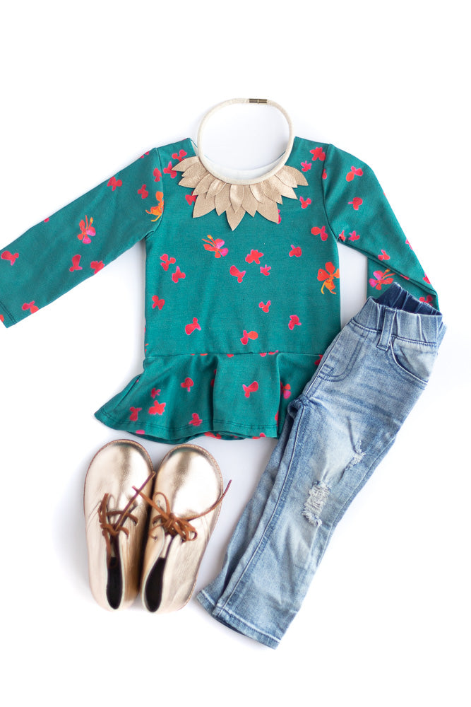 Winter Floral Peplum Top