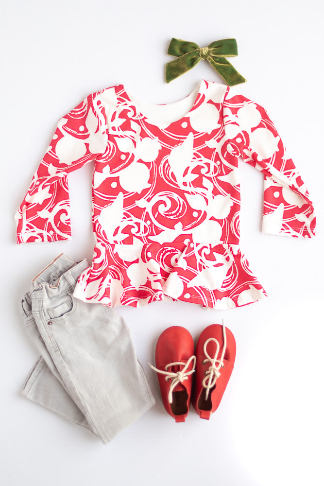 Red Berries Peplum Top