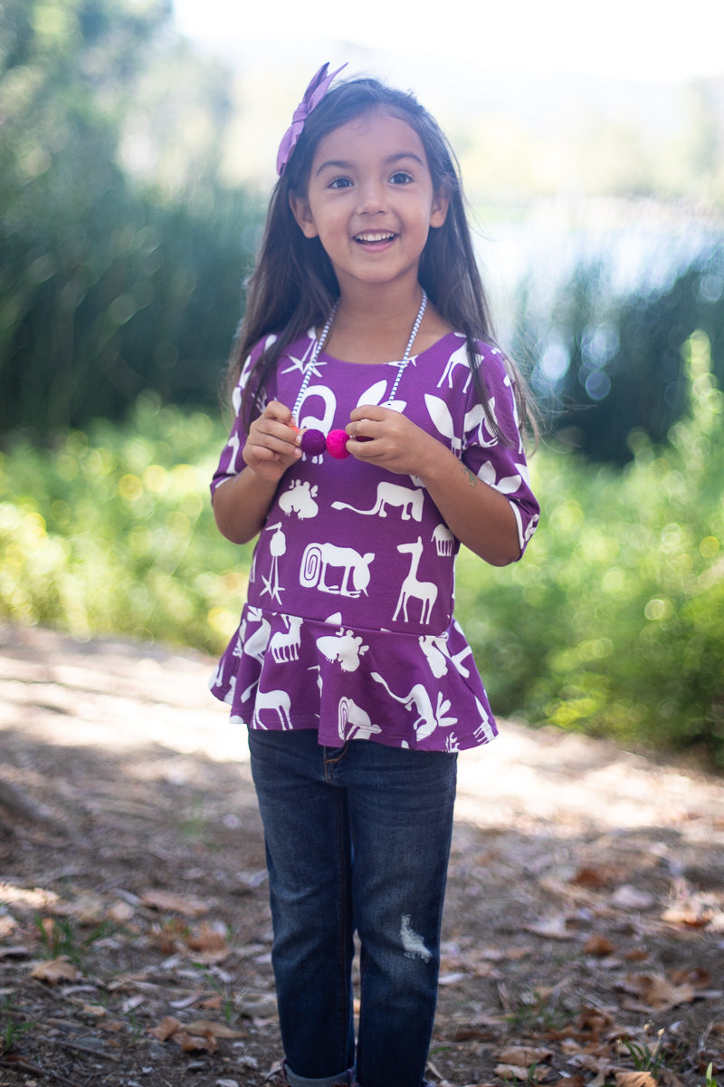 Plum Silly Beasts Peplum Top