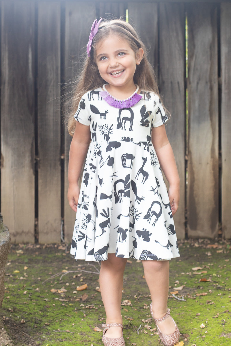B&W Silly Beasts Twirl Dress - Ready to Ship