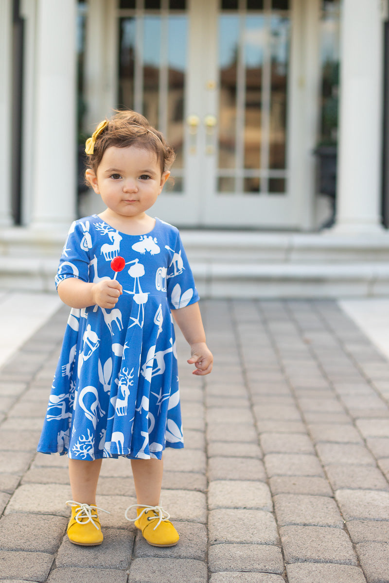 Blue Silly Beasts Twirl Dress - Ready to Ship