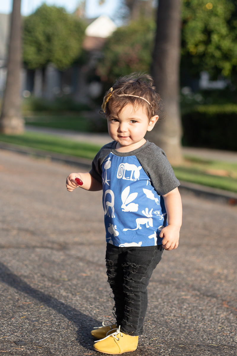 Blue Silly Beast Raglan Kids Tee - Ready to Ship