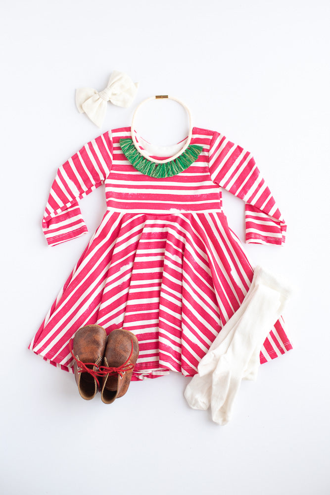 Red Thick Stripe Twirl Dress- Ready to Ship