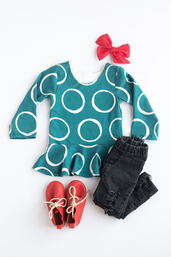 Ring Polka Dot Peplum Top