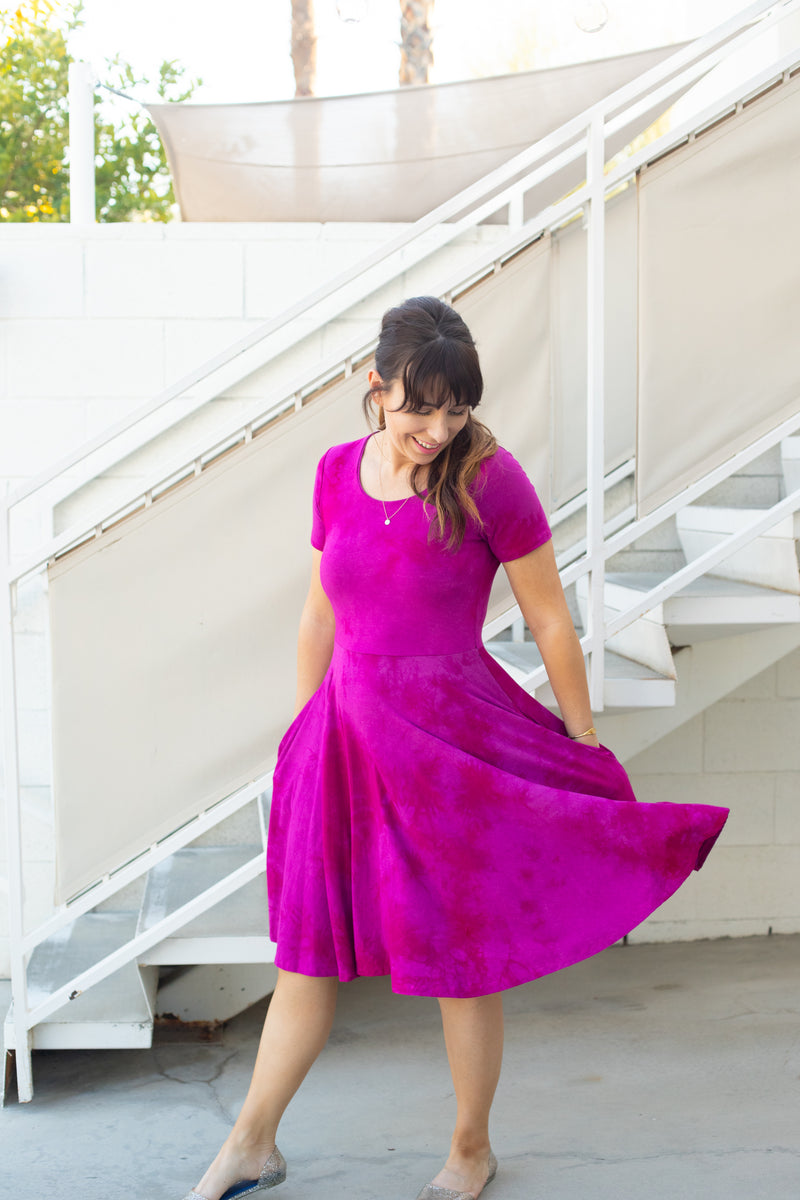 Dyed Dress in Raspberry Dragon