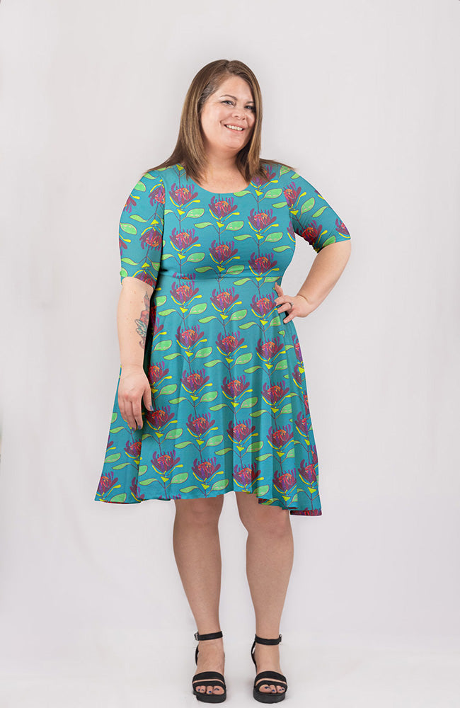 Crown Bloom Dress in Teal