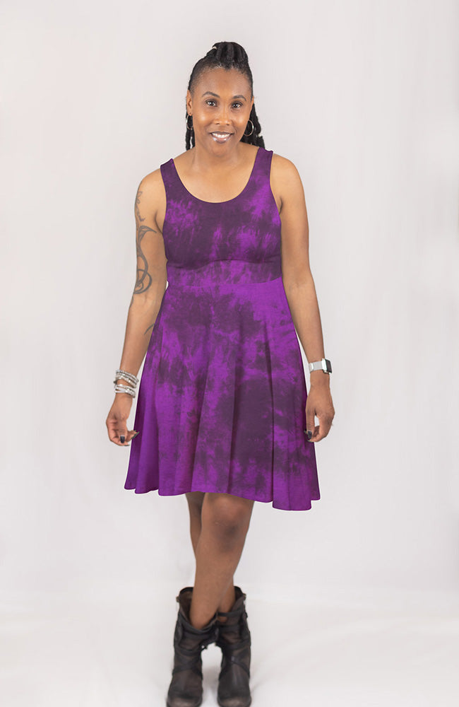 Dyed Dress in Black Plum