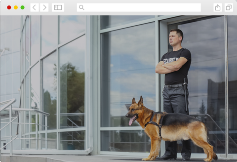 Security guard standing watch with guard dog