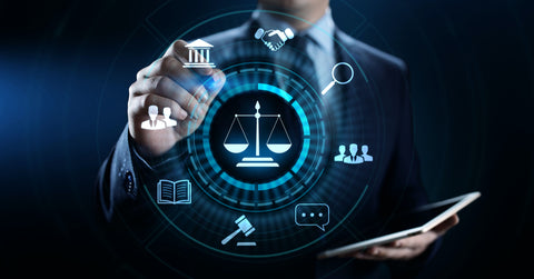 Man in a suit engaging with screen on which there are legal items represented