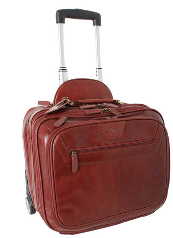 Cognac Leather Weekend Trolley Bag