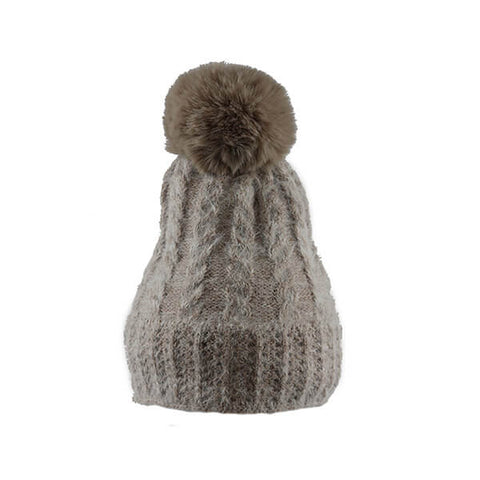 Beige Soft Cable Knit- Pom Pom Hat- House of Hide UK Ltd