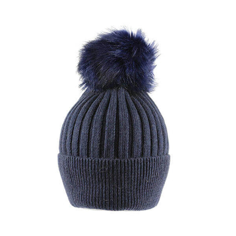 Blue Thin Knit- Pom Pom Hat- House of Hide UK Ltd