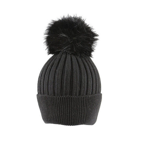 Charcoal Thin Knit- Pom Pom Hat- House of Hide UK Ltd