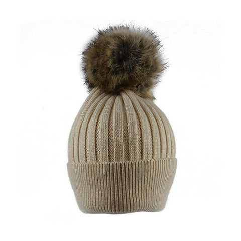 Cream Thin Knit- Pom Pom Hat- House of Hide UK Ltd