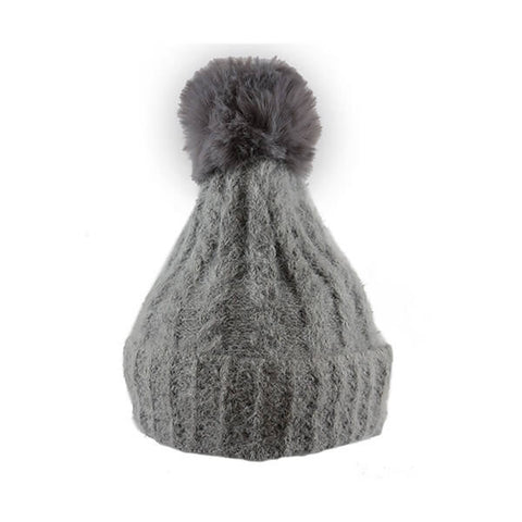 Grey Soft Cable Knit- Pom Pom Hat- House of Hide UK Ltd